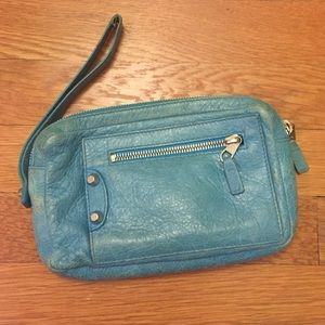 Balenciaga Blue Leather Wristlet Pouch